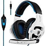 [neueste Version Xbox One Gaming Headset] Sades SA810 über Ear Stereo Gaming Headset mit MIC Bass Volume Control für Xbox One PS4 PC PC Laptop (schwarz & weiß)
