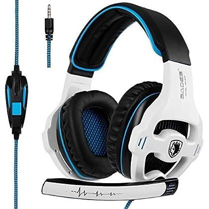 Sades [última versión del Juego de Auriculares Xbox One] SA810 Sobre el oído estéreo Gaming Auriculares con micrófono de Control de Volumen de bajo para Xbox uno PS4 PC PC portátil (Negro y Blanco)