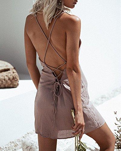 Donne Bodycon Abito Senza Schienale Mini Vestito Senza Maniche Abito da Sera Partito Spiaggia Pink