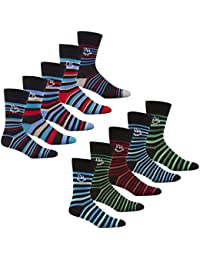 Mens Multipack Design Socks Mens Cotton Rich Pierre Roche Argyle Stripe Socks