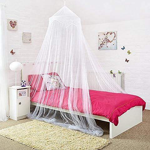 Moskitonetze 4 U Weiß Bed Canopy mit dekorativen Perlen Passend