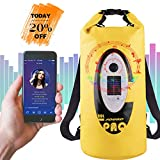 Gimify 20L Borsa Impermeabile Sacca Stagna con Altoparlante Bluetooth e LED RGB, Caricata da Solare/USB, Dry Bag Zaino per Kayak, Barca, Pesca, Rafting