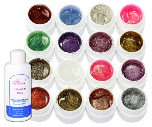 Mix couleur Gel UV nacré pour ongles faux lot de 16