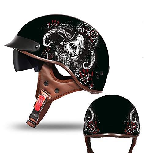 MMGIRLS Motorradhalbhelm Harley Helm Herren und Damen Vier Jahreszeiten Universal Cool Sonnenbrille Anti-Tageslicht/Nachtlicht (Mehrfarbig optional),G,L