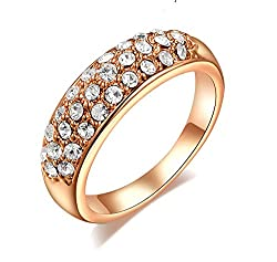 Sorella'z Clear Austrian Crystal Golden Ring for Girl's (Size US 8)