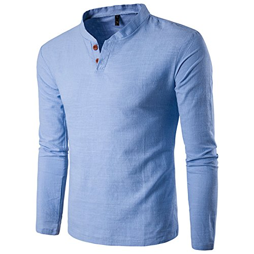 donhobo Mens Shirts Long Sleeve Short Casual Top Linen T-Shirt Henley Polo Shirt Grandad Collar Leisure