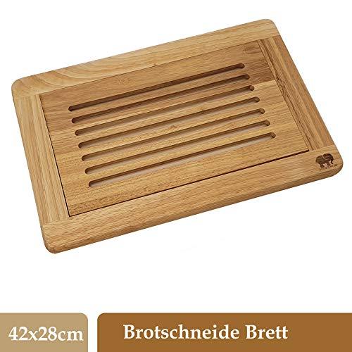 DEKOFANT Brot-Schneidebrett Edelholz mit Krümelfang   Auffangschale und praktischer Krümelrille 42x28x2 cm