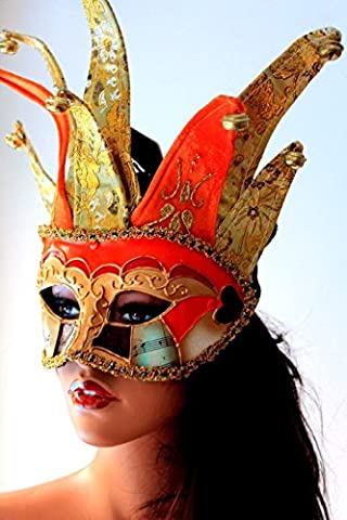 Masquerade Masque Dor - Elaborer Orange et Or Bouffon Vénitien Masquerade