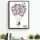CXQWAN DIY Fingerabdruck Unterschrift Dekorative Malerei Kreativ Liebhaber Heißluftballon Hochzeit Party Party Leinwand Malerei,50x70cm