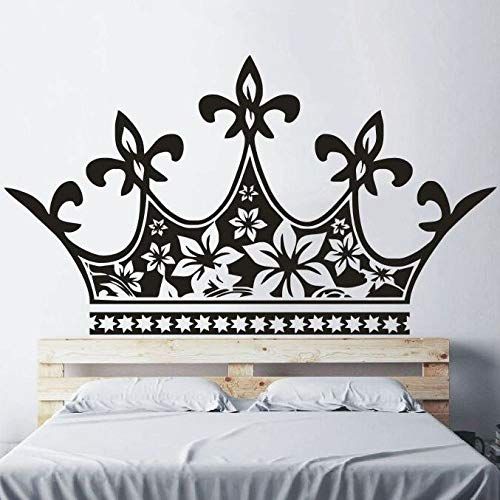 jiuyaomai Home Decor Princess Crown Testiera Adesivo Neonate Camera da Letto Decorazione Principessa Half Crown Adesivo da Parete in Vinile Murale Marrone 100x57cm