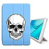 STPlus Schädel Tod Skelett (Baby-Blau) Smartcover Schutzhülle Schutz Hülle Case mit Standfunktion/Sleep/Wake up für Samsung Galaxy Tab S3-9.7