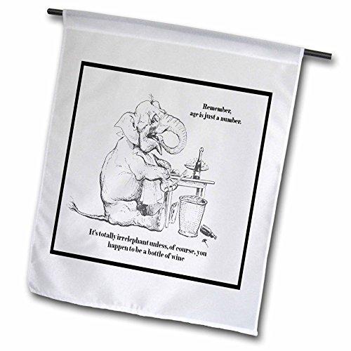 3drose FL _ 78687_ 1birthday-caricature, Elefant, niedlicher, Wein, Alter, Geburtstag, Grußkarte, Geburtstagskarte, Zitat, Humor Garten Flagge, 12von 18 (Garten Flag Benutzerdefinierte)