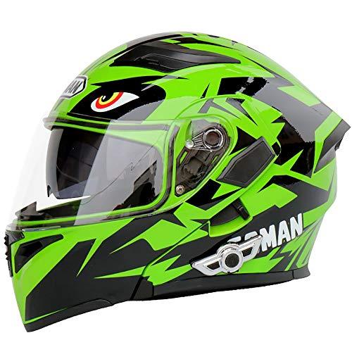 Casco moto Bluetooth, Bluetooth integrato modulare anti-nebbia doppia lente Bluetooth casco integrato design Bluetooth helm (dimensioni : M)