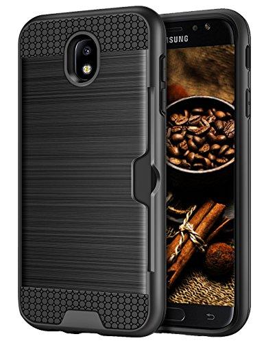 Samsung Galaxy J5 2017 Hülle, Coolden® Premium Handyhülle mit Kartenfach Silikon TPU + Hard PC Bumper Cover Doppelschichter Schutz Handytasche für Samsung J5 DUOS 2017 (Schwarz) Hard Silikon