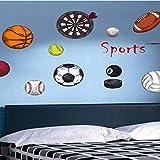 hzcl Les Garçons Basketball Soccer Wall Stickers Volley-Ball Football Fléchettes Sticker Décoratif pour Les Enfants Chambres Nursery Décor Sport Maison Decal