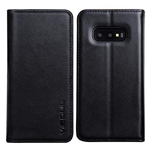 Schwarze Napa Leder (Samsung Galaxy S10E Hülle Handy Schutzhülle, VISOUL Case Premium Leder Handytasche Wallet Tasche Echt Leder Geldbörse Handyhülle Flip Brieftasche Kartenfach Magnet Hülle für Galaxy S10E (Napa Schwarz))