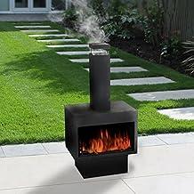 Guaranteed4Less Outdoor Fire Pit Metal Chiminea Log Wood Burner Garden Patio Heater Fireplace