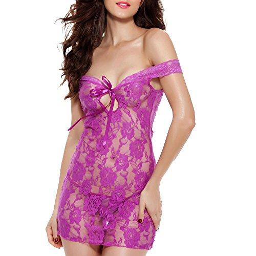 Kobay gonna con spalle scoperte e intimo per la biancheria intima da notte da donna in pizzo con babydoll(viola,2xl)