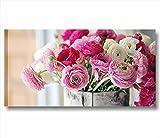 Quadri L&C ITALIA Fiori vintage 6 | quadro moderno MADE IN ITALY stampa tela canvas 90 x 45 | arredo shabby chic rustico soggiorno, cucina, salotto, camera letto, bagno | decori peonie rosa provenzali