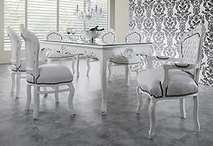 casa padrino barock esszimmer set wei wei esstisch 6 st hle k che haushalt. Black Bedroom Furniture Sets. Home Design Ideas