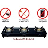 Suryajwala Automatic 3 Burner Gas Stove, Black