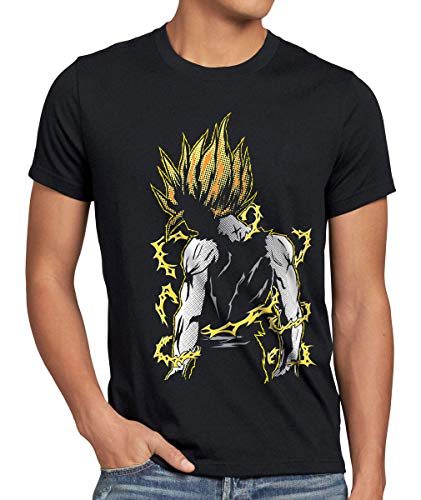Comic Pop Mann Art Kostüm - style3 Goku Pop-Art Power Herren T-Shirt Anime Manga Son Sayajin God Modus Power Training Schwarz, Größe:XL, Farbe:Schwarz