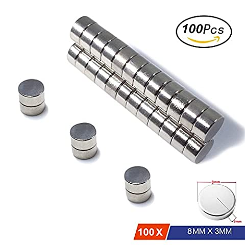 Neodymium Magnets By MagnetPow, 100Pcs 8MM x 3MM Stainless Steel Fridge Magnet, Super Strong N52 Round Magnets For Office, Refrigerator Door, Whiteboard, DIY Crafts, Hobbies Multi-Use (100PCs 8mm x