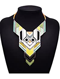 The Bling Stores Fusion Style Color Blocked Geometric Pattern Statement Necklace