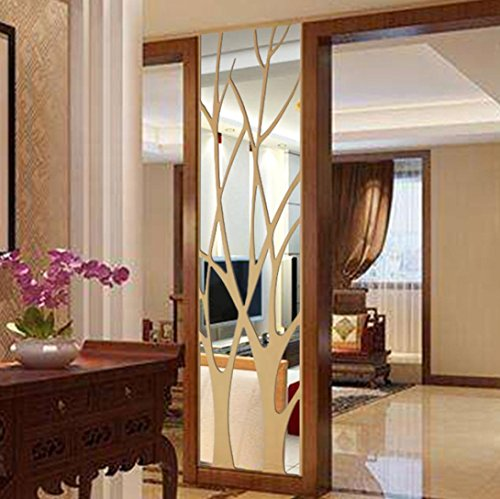 SOMESUN Wandaufkleber Wandsticker Spiegel Entfernbar Wandtattoo Aufkleber Kunst Wandbild Wandaufkleber Home Room DIY Decor (Silber)