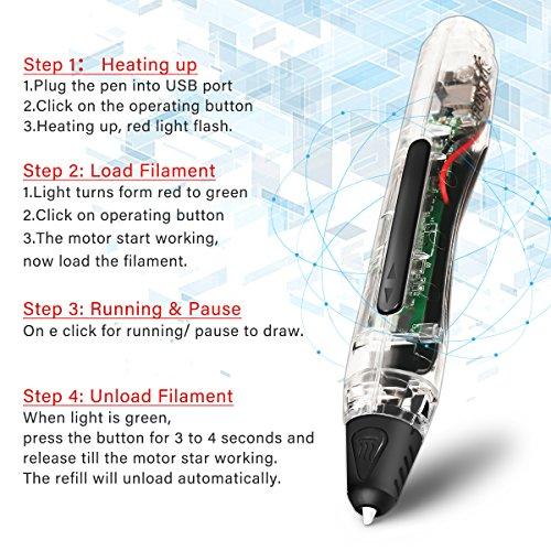 FUNTOK 3D Stift Printing Pen Printer Pen Druck Intelligente Niedrigen Temperatur 3D Stift Beste DIY Geschenk für für Kinder und Erwachsene - 3