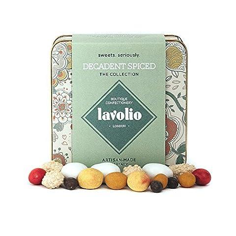 Lavolio Decadent Spiced – De délicieuses surprises ! De vrais morceaux de fruits, noix et de gelée enrobés de chocolat et d'épices - boîte-cadeau métallique - 175g