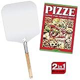 Spice Set Pala Paletta Pizza Rettangolare 31x35 cm Alluminio Alimentarte, Manico Legno 32 cm + Ricettario Pizza Calzoni Pane