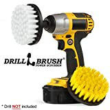 Drill Brush - Bathroom Accessories - Shower Curtain - Bath Mat - Large Spin Brush Cleaning Kit - Grout Cleaner - Shower Door - Hard Water Stain Remover - Calcium, Mineral Deposits, Soap Scum, Rust