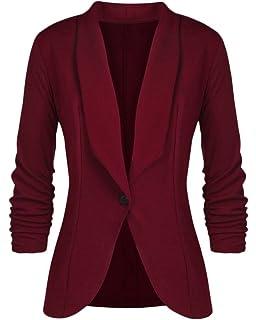 Femme Blazers Court Veste De Tailleur Slim Fit Manches Longues Business Jacket  Manteau 2dad5bdee46
