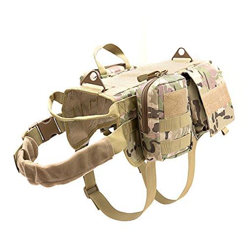 Vevins Dog Tactical Geschirr MOLLE Weste verstellbar Service Camouflage Outdoor Training Geschirr mit 3Abnehmbare Beutel, L, Camouflage -