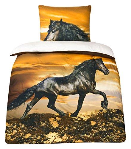 Moon Baumwoll-Satin Pferde Bettwäsche Pferdebettwäsche 135x200 Digitaldruck D496/0902 Friesen Satin