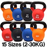 FXR Sports Cast Iron Kettlebells With Rubber Sleeve - 15 Sizes Available (2-30kg) - With Free A3 Workout Poster!