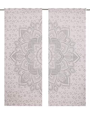 Juego cortinas diseño mandala flor grande, mandala