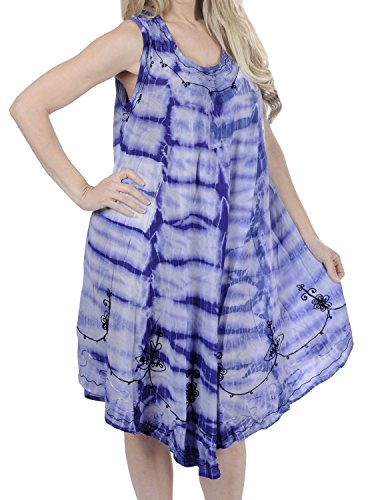 LA LEELA 3 in 1 weicher Kunstseide Tunika Damen Krawatte gestickt kurzen Strand prom kleid beiläufige Badebekleidung Lounge verschleiern Tunika Bademoden ärmel plus Größe Frauen färben violett