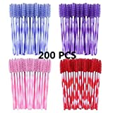 200 pezzi Pettini per ciglia e sopracciglia Pennello da ciglia monouso Applicatore Mascara spazzole applicatore trucco, Multicolore (200 pezzi)