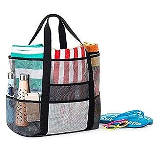 ABEDOE Mesh Beach Bag, Folding Shopping Shoulder Tote Handbag Large Sand Toy Storage Quick Drying Mesh Bag