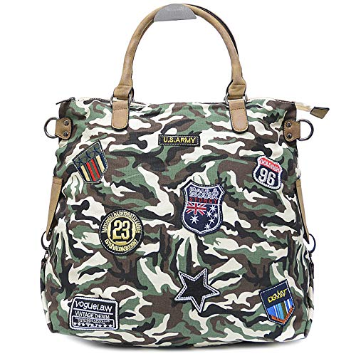 Vain Secrets Sternen Shopper Damen Handtasche mit Schulterriemen (Camoflash Beige) - Strass Beige Handtasche