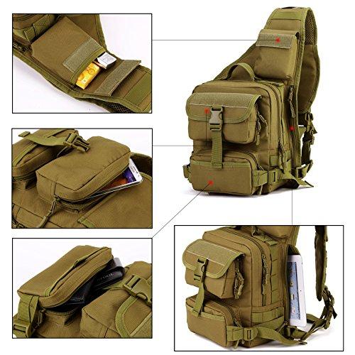 DCCN Molle Sling Zaino Militare Crossbag Sport Borsa a Tracolla Marrone
