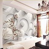 Zybnb Benutzerdefinierte Fototapete 3D Stereo Magnolia Kreis Wandbild Tapete Wohnzimmer Sofa Tv Hintergrund Moderne Nahtlose Wandverkleidung