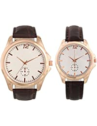 Combo Of Round Dial Leather Strap Elegant Analog Wrist Watches For Couple