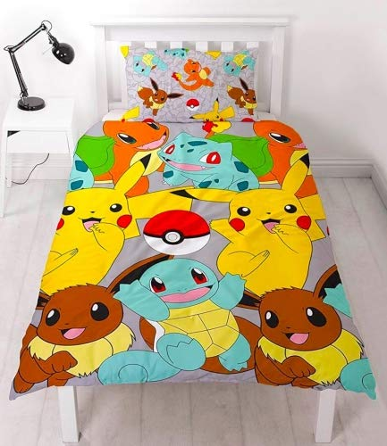 Pokémon 'Catch' copripiumone Singolo Set, Multi-Colour, 135 x 0.03 x 200 cm