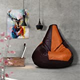 #2: Story@Home XL Leatherite Single Seating Tear Drop Bean Bag Chair Cover Without Filler, Tan Brown