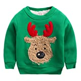 Happy Cherry - Kids Sweatshirt Tracksuit Unisex Winter Long Sleeve T-Shirt Kids Thick Clothes with Warm Velvet Sweatshirt Christmas Sweater Reindeer Christmas - Green - Size 6-7 years