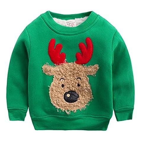 Happy Cherry - Sweat-shirt/ Sweater/ Hoodie Imprimé Wapiti Bébé enfant Unisexe Pour Noël- Col ras du cou - 2-3 ans Starture 95 cm- Vert