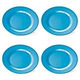 4 blaue Kunststoff-Teller, Frühstücksteller, flach, 20 cm, aus Melamin